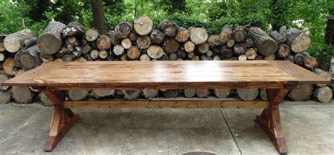 trestle style farmhouse table handmade reclaimed wood trestle x style farmhouse table by