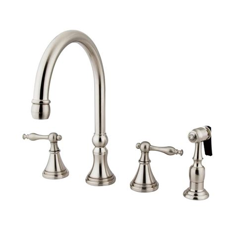 kitchen faucet side spray shop elements of design satin nickel 2 handle high arc kitchen faucet with side spray at lowes com
