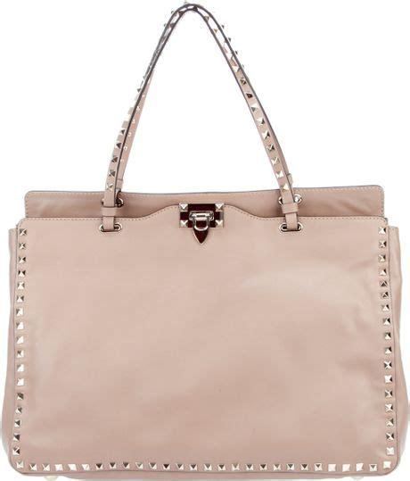 Valentino Studded Tote by Valentino Studded Leather Tote In Beige Lyst