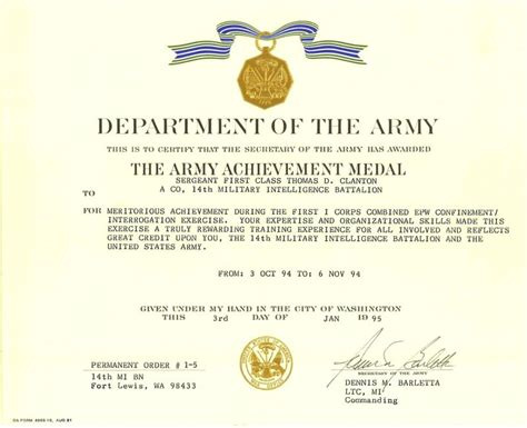 army achievement medal certificate army achievement medal award
