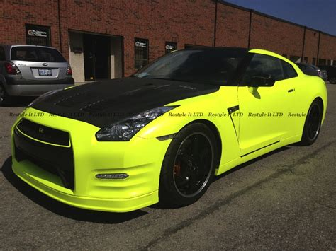 satin fluorescent yellow nissan gtr vehicle customization shop vinyl car wrap car wrap in