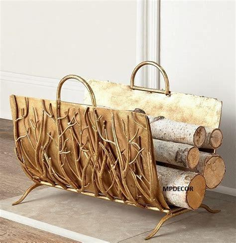 Decorative Fireplace Log Holder by Italian Gold Iron Twig Branch Decorative Log Wood Holder