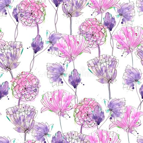 watercolor pattern with purple flowers vector free download pattern with watercolor purple flowers stock illustration