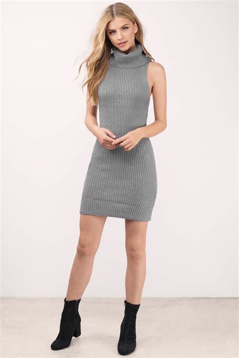 Dress Turtle V Neck kerri grey sweater dress 60 tobi