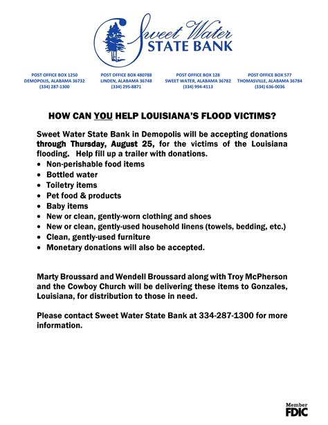 Fundraising Letter For Flood Victims Louisiana Flood Victim Donation Drive By Sweet Water State Bank
