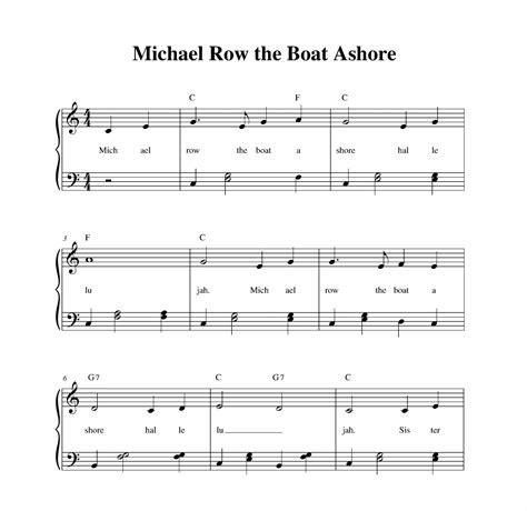 michael row the boat ashore melody michael row the boat ashore