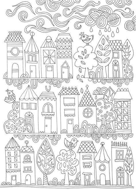 free colouring poster tiny town adult coloring free