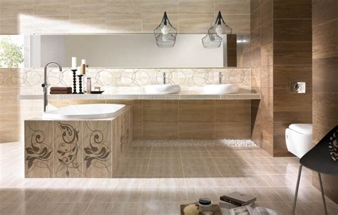 dekorative badezimmerfliesen badezimmer in beige modern gestalten tipps und ideen