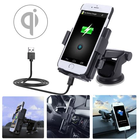Phone Holder Motor Plus Charger 2a 2 in 1 5v 2a qi wireless car charger dock mount holder for samsung xiaomi huawei alex nld