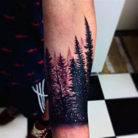 wrist tree tattoos 70 pine tree ideas for wood in the wilderness