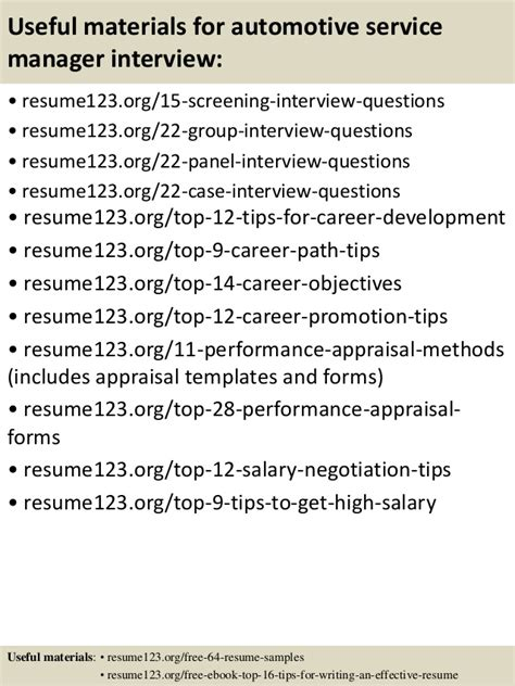 Automotive Service Manager Resume Sample