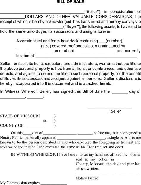 bill of sale missouri template missouri bill of sale form free premium
