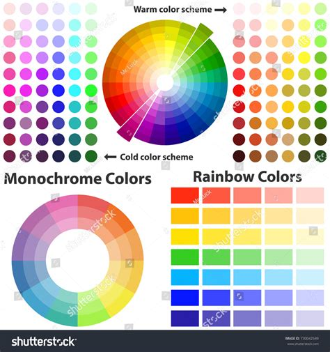 color scheme warm cold colors flat stock vector 730042549