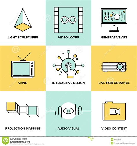 visual art design audio and visual art design flat icons stock vector