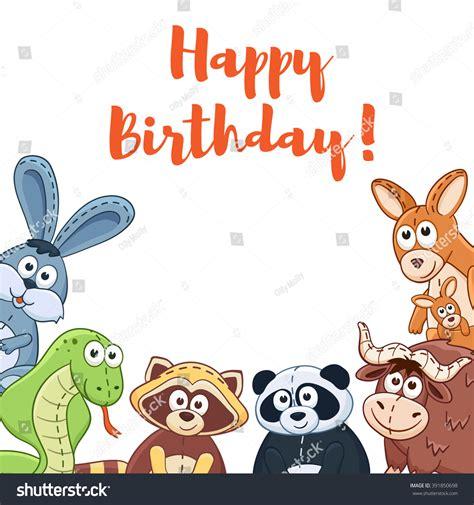 happy birthday animal stak design happy birthday card cute cartoon animals stock vector