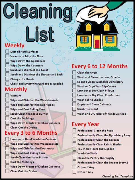 house cleaning checklist cleaning list template download