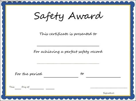 safety award certificate template sle templates