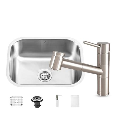 undermount kitchen sink with faucet holes vigo all in one undermount stainless steel 23 in 0 kitchen sink and branson stainless