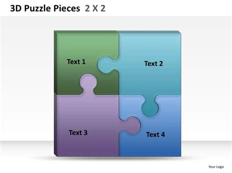puzzle pieces template for powerpoint 3d puzzle pieces 2 x2 powerpoint presentation templates