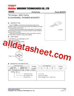 transistor mosfet 18n50 18n50 datasheet pdf unisonic technologies