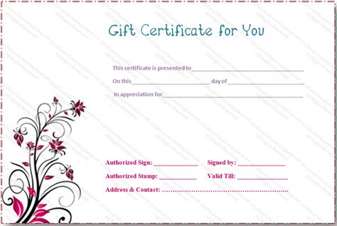 fillable gift certificate template gift certificate templates
