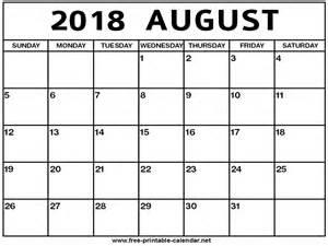 2018 August Calendar August 2018 Calendar Print Calendar From Free Printable