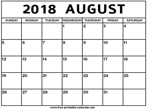 August Calendar 2018 Printable august 2018 calendar print calendar from free printable