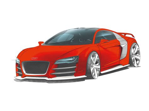 cartoon audi r8 2008 audi r8 tdi le mans drawing front and side