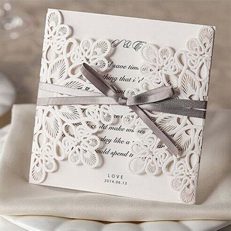 Laser Cut Wedding Invitation Kits affordable exquiste laser cut grey ribbon wedding