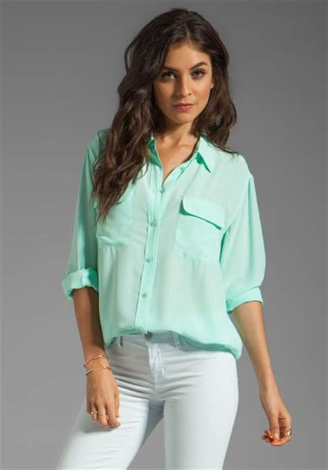 Blouse Blouse Blouse Mint equipment signature blouse in mint in green mint lyst