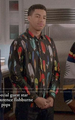 marcus scribner on wendy williams wornontv junior s feather print shirt on black ish
