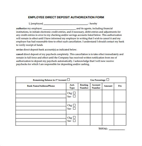 direct deposit form template sle direct deposit authorization form 7