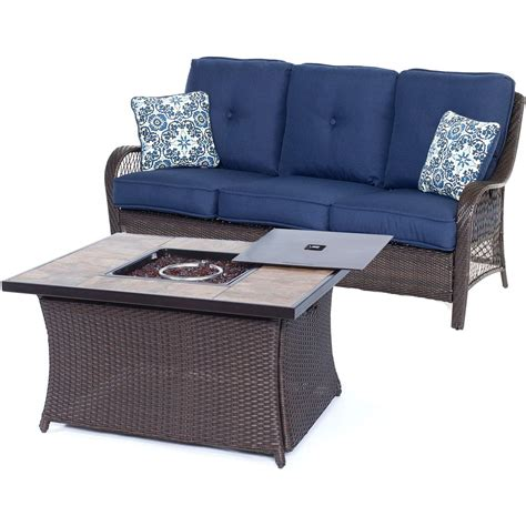 orleans 2 piece woven fire pit set in navy blue