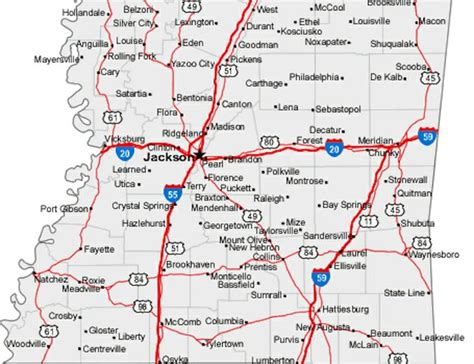 jackson ms map map of mississippi cities my