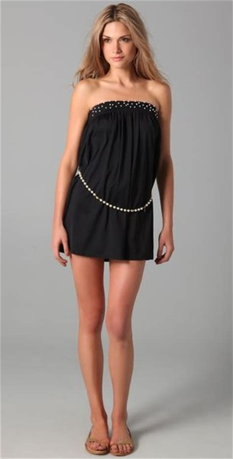 Mini Madness Couture In The City Fashion by Couture Majestic Pearl Mini Coverup Dress In Black
