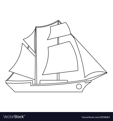 sailboat outline vector free sailing ship icon outline style royalty free vector image