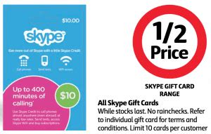 Gift Cards Half Price - expired save a whopping 50 off skype gift cards at coles gift cards on sale