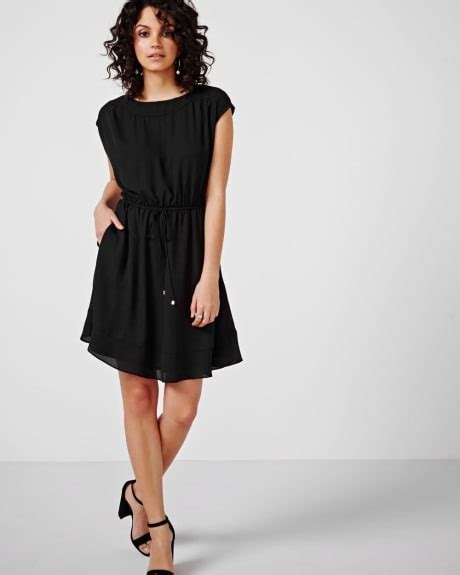 boat neck dress with frills women s dresses rw co