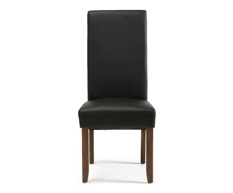 serene merton black faux leather dining chairs with walnut