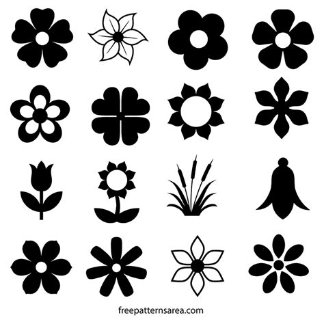 icon pattern svg flower silhouette vector icons and outline templates