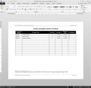 Controlled Log Template by Document Log Iso Template