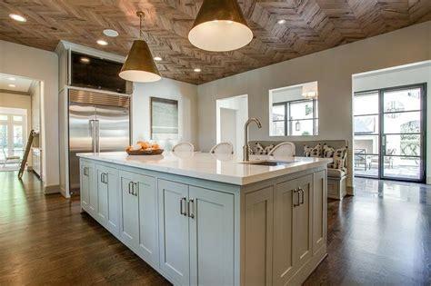 Wood Herringbone Ceiling   Transitional   Kitchen