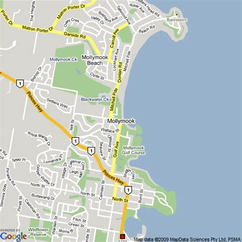 map  mollymook nsw hotels accommodation
