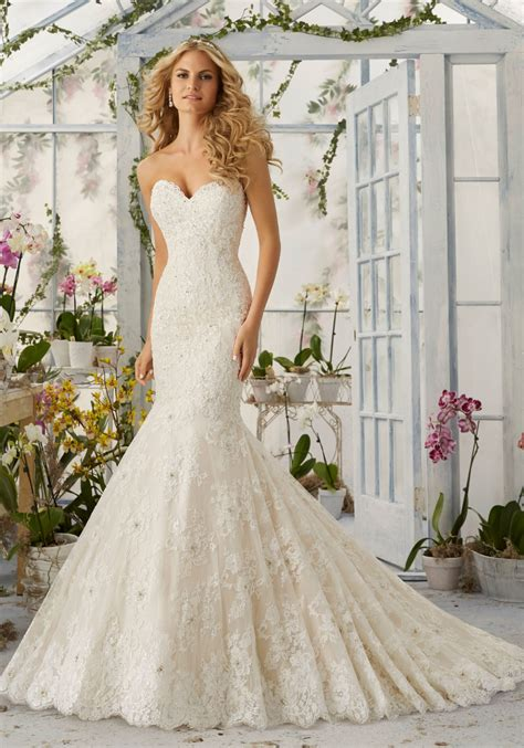 Mermaid Lace Wedding Gown allover lace mermaid wedding dress with pearls style