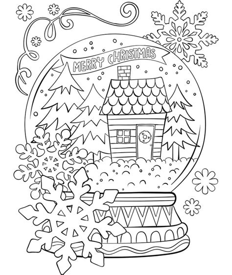 merry christmas snowglobe coloring page crayola com