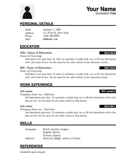 Simple Resume Template Pdf pdf resume format images
