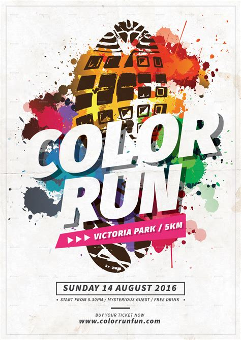 Color Run Fest By Tokosatsu Graphicriver Color Run Flyer Template