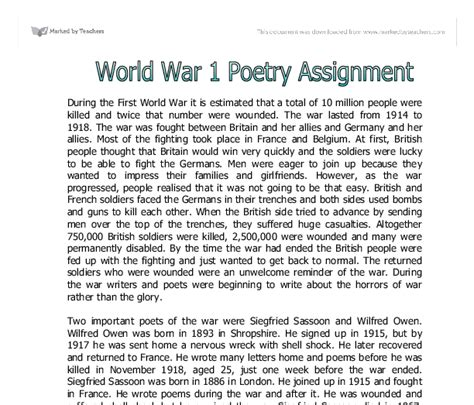 1 Page Essay Describe How Ww1 Was A Costly And Global War by World War 1 Poetry A Level Marked By Teachers