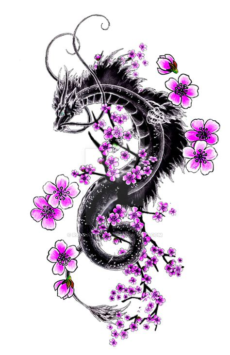dragon and sakura branch by rayrayloser11 on deviantart