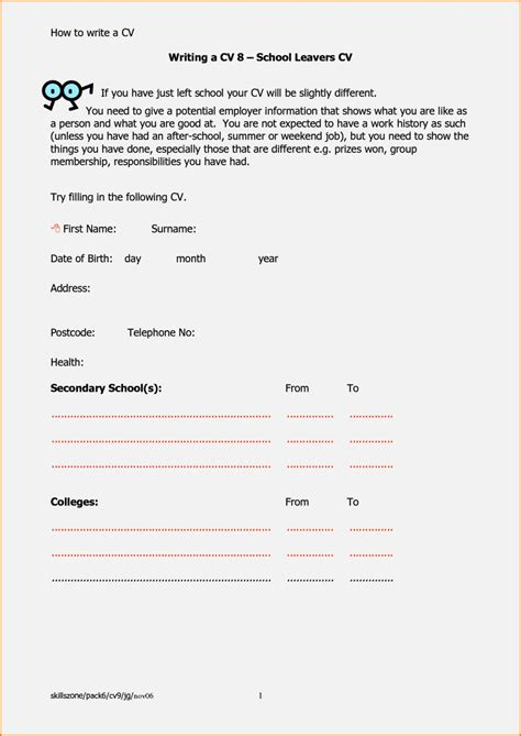 cv template word in south africa cv template for school leavers resume template cover